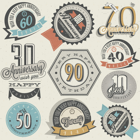 Anniversary sign collection and cards design in retro style. Template of anniversary, jubilee or birthday card with number editable. Vintage typography. 免版税图像 - 61048395