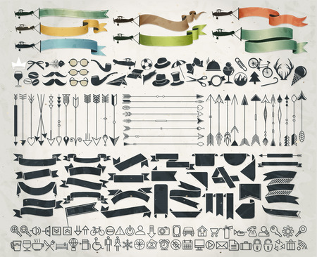Big collection of hipster symbols. vintage style design hipster icons. Hipster style infographics elements and icons set. Big arrows and ribbons collection. Icons and everyday object set.