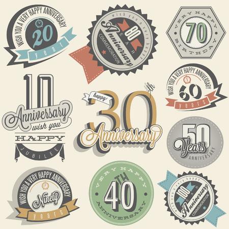 Jahrestag Schild-Sammlung und Karten-Design im Retro-Stil. Vorlage des Jahrestages, Jubiläum oder Geburtstagskarte mit der Nummer editierbar. Jahrgang Typografie. Standard-Bild - 61048391
