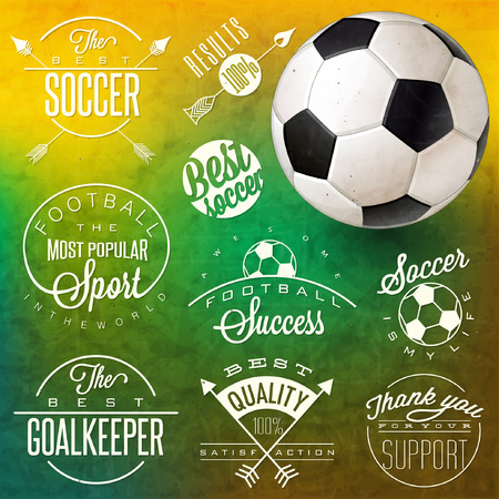 Retro vintage style soccer emblem collection. Set of Calligraphic titles and symbols for football. lettering soccer slogans. One realistic illustrated Soccer Ball.