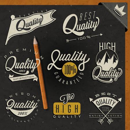 Retro vintage style premium quality labels collection. Set of premium quality badges. Illustration