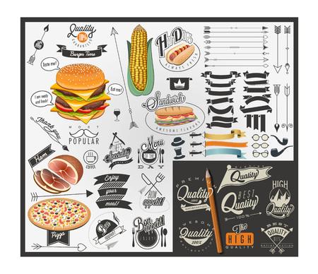 Retro vintage style fast food design. Set van kalligrafische titels en symbolen voor voedingsmiddelen. belettering stijl kalligrafie design. Retro vintage stijl typografische menu symbolen en slogans.