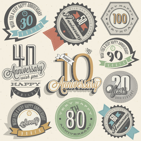 Anniversary sign collection and cards design in retro style. Template of anniversary, jubilee or birthday card with number editable. Vintage typography. 免版税图像 - 61048401