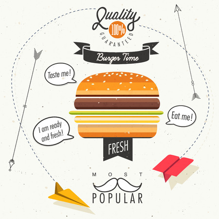 Retro vintage style fast food design Illustration