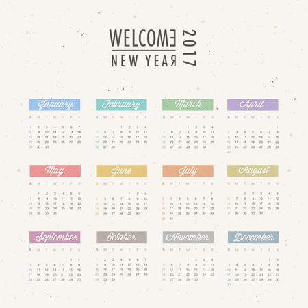 2017 isolated calendar design. Illustration