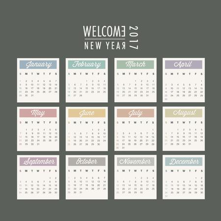 2017 isoliert Kalender-Design. Illustration