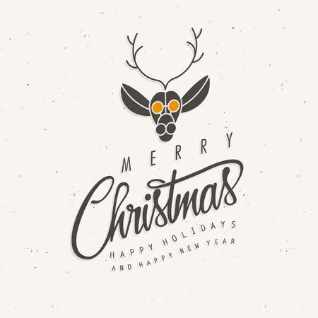 Merry Christmas! Deer illustration. Cartoon Illustration
