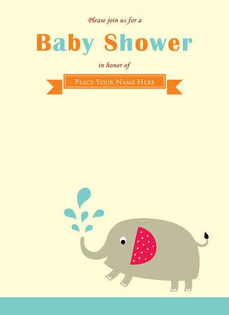 cute elephant baby shower card