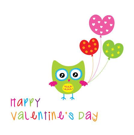 cute owl valentine greeting card