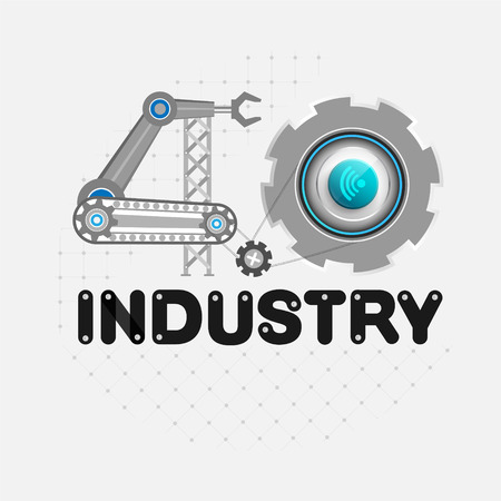 Industry concept of industrial business control with a wireless signal.