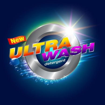New Ultra Wash Design Template for Detergents Used as a detergent illustration. For front-door washer Showcasing modern clean energy for the future. Vector illustration Realistic. Illustration