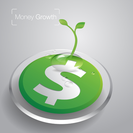 Plant growth from money coin with icon of business and creativity. Business investment growth and Economic Growth concept. vector illustration