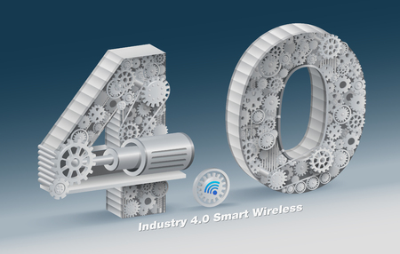 """Il set di caratteri """"Industria 4.0"""" viene utilizzato come illustrazione per le tipiche imprese industriali. file realistico vettoriale."""