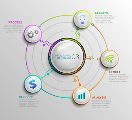 Business Digital data infographic. Process chart Technology. Abstract elements of graph, diagram with 5 steps, options, parts or processes. Иллюстрация