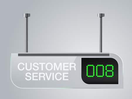 Customer service sign board Made of clear glass Service queue number. Vector realistic.