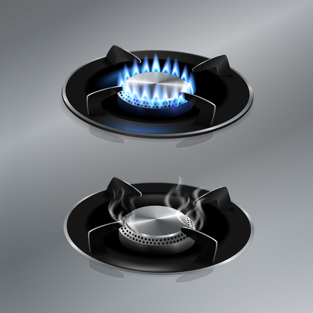 Kitchen gas stove on stainless steel floor. Vector realistic.