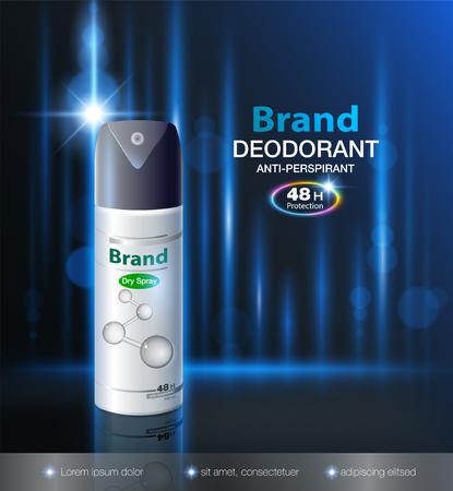 Anuncio de desodorante en aerosol seco puede proteger hasta 48 horas. Plantilla de maqueta, embalaje realista sobre un fondo moderno Vectores Archivo realista de vector eps10.