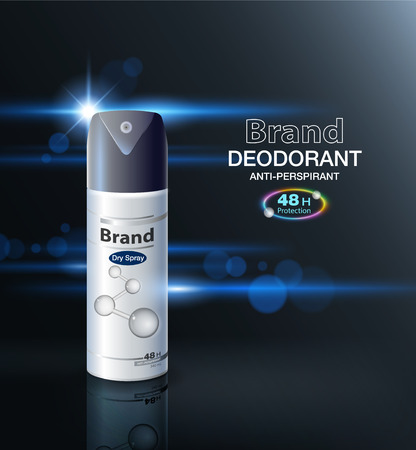 Ads Deodorant Spray Verpackung Kann bis zu 48 Stunden schützen. Modellvorlage, Geschäft, Broschüre, Prospekt, Flyer, Poster. realistische Verpackung auf einem modernen Hintergrund Vektor realistische Datei.
