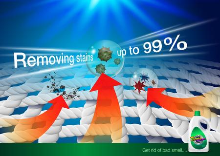 Anuncios de detergente. zoom image fibra de tela Muestra la potencia de eliminación de manchas del producto. Vector realista.