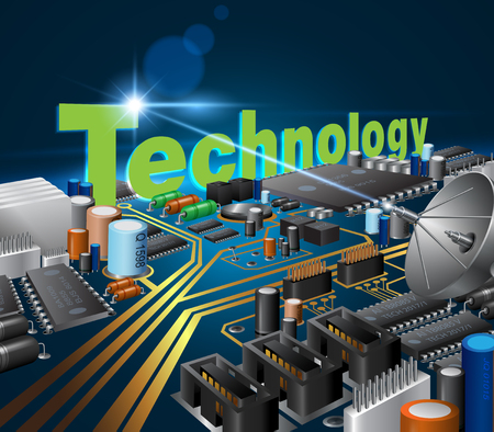 Circuit board technology concept Communicate innovations for modern businesses. Vector realistic.