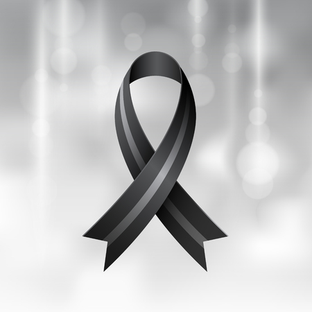 Black ribbon on gray background. Mourning and melanoma symbol. Vector realistic.