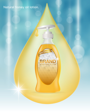 Ads Natural honey oil lotion. Blue and gold background template. water drop color gold. Design oil lotion product advertising, blur and bokeh background. Vector realistic file.