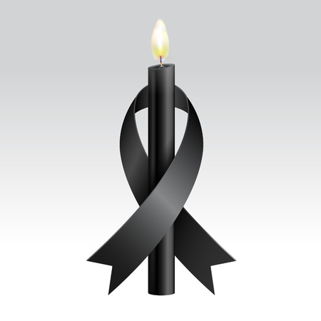Black ribbon & Black candles mourning. Vector realistic.