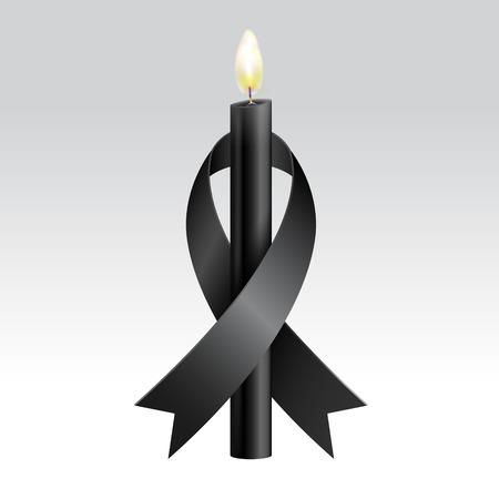 Nastro nero e candele nere in lutto. Vettore realistico. Archivio Fotografico - 86297437