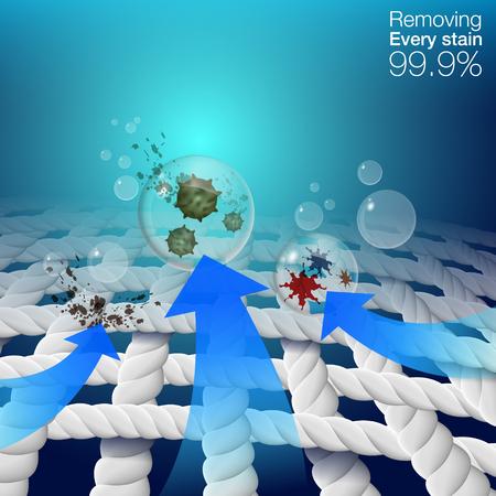 Faseroptik Zeigen Sie Flecken auf Stofffasern, wie Flecken, Blutflecken, Kaffeeflecken. Kann in Waschmittelprodukten, Stoffreinigern verwendet werden. Vektor 3d realistische Datei.