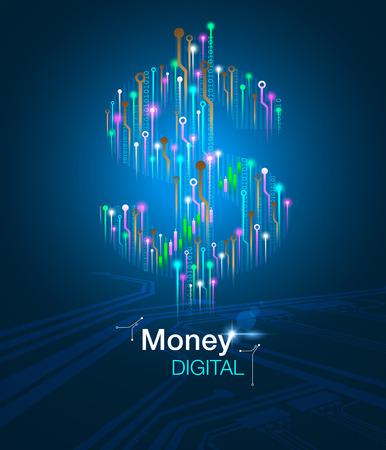 Money digital business concept. Vector eps10.