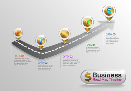 infographic Business roadmap timeline 5 options Business concept infographic template can be used for workflow layout, diagram, number options,step. Vector EPS10.