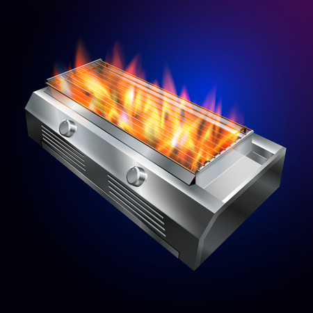 grill stove BBQ. Fire up the grill from hot gas. vector realistic file.