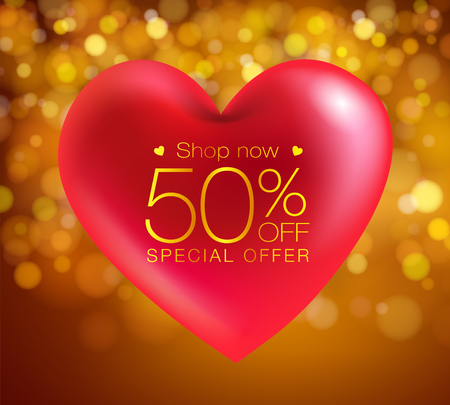 red heart realistic special offer on a gold background Can be used in the poster, wallpaper, brochure, flyers, invitation, banners, template. Vector realistic file. Иллюстрация