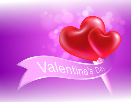 valentines day pink background 3d heart realistic. Can be used in the poster, wallpaper, brochure, flyers, invitation, banners, template. Vector realistic file.