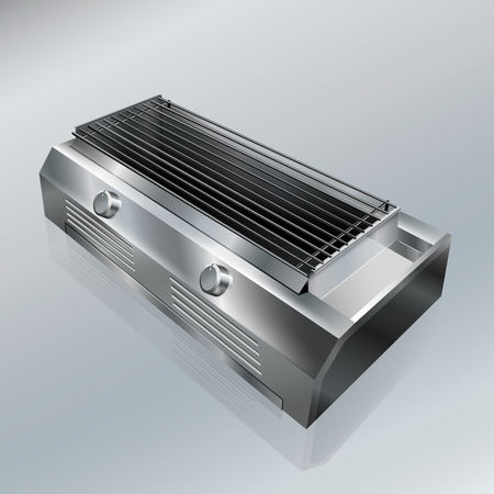 grill stove stainless steel. vector realistic file.
