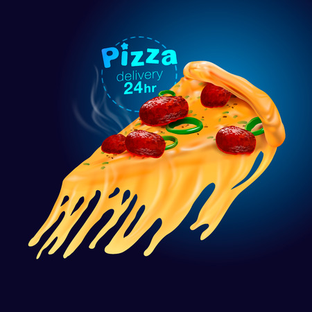 Pizza Cheese Realistic. Used for food businesses such as logos, menus, banners, posters, publications. 24-hour delivery vector realistic file.