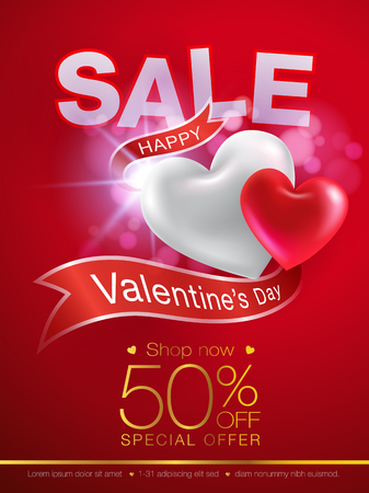 Valentines day special offer flyer with ribbon background 3d heart realistic. Can be used in the poster, wallpaper, brochure, flyers, invitation, banners, template. Vector realistic file.