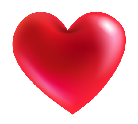 Red heart 3d realistic on a white background. vector realistic file.