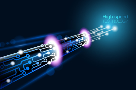 High speed technology fiber optic provides instant access to information such as the internet, telephone, television. vector digital file.