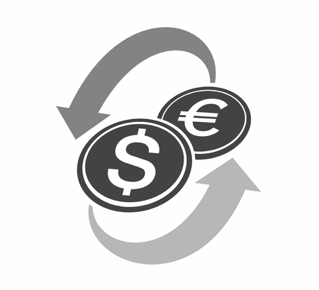 Currency exchange of dollar and euro icon illustration on white background.