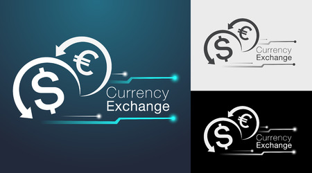 Digital currency exchange sign board and icon design.