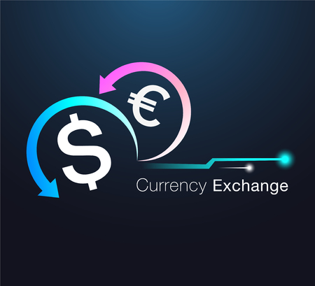 Currency exchange sign board and icon design illustration.