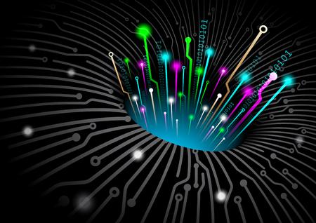 Black hole space technology digital background. Vector file illustration.
