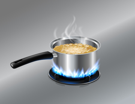 Stainless steel Soup pot boiling water On the gas stove. Vector realistic file.