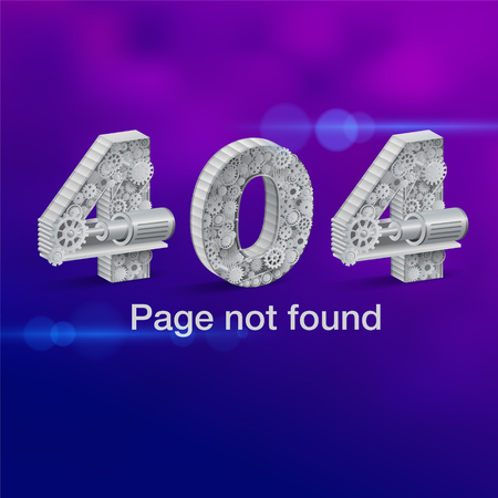 Page not found Error 404 Vector Industry Gear & Machinery. Vector realistic file.