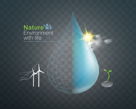 Natural environment with life Vector  isolated on dark background