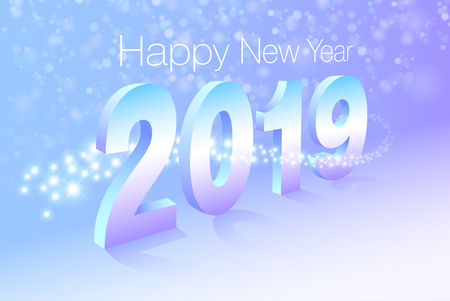 Happy New Year 2019 with abstract background and bokeh. Sparkling stars surround the character. Vector EPS file