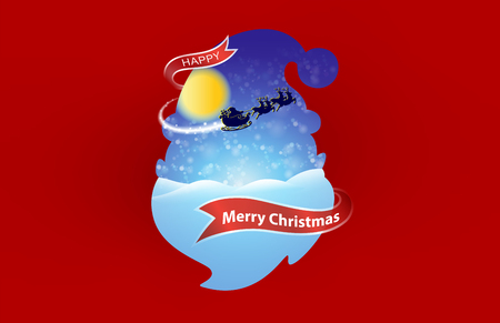 Happy Christmas and Happy New Year On the red ribbon. Santa Claus with reindeer In the sky of the moon Use with advertising, banner, card, poster. vector eps file.