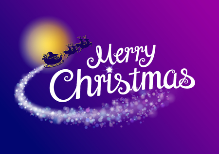 Merry Christmas & Santa typography template. Xmas card or invitation. Vector EPS file.