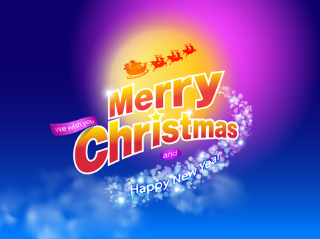 Merry Christmas and Happy New Year Typography on full moon background with Santa Claus and reindeer in winter landscape with snowflakes and bokeh. Xmas Logo, card, poster,banner,web Vector EPS file.